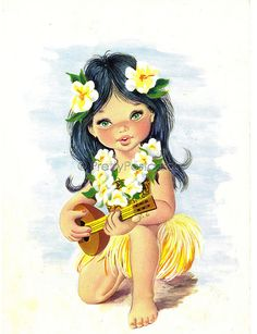 Big Eyed Beauty from Hawaii - Vintage Spanish Postcard | by PrettyPostcards