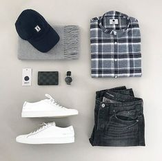 WEBSTA @stylishgridgame Essentials in this Stylish Grid by @stay_at_home_style  Follow  @stylishgridgame   www.StylishGridGame.com  Brands ⤵ ️Shirt: @nonationality07 ️Jeans: @bananarepublicmens ️Trainers: @commonprojects ️Watch: @tissot_official ️Wallet: @louisvuitton ️Hat: @elusive.society ️Scarf: @asket