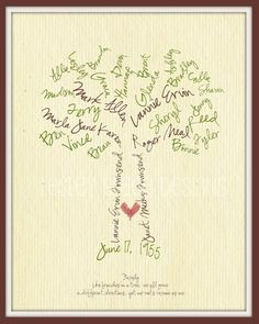 Custom Family Tree  Honor your parents and their legacy with a beautiful, custom-typography family tree print.  Buy it from Lesley Grace Designs on Etsy, $60