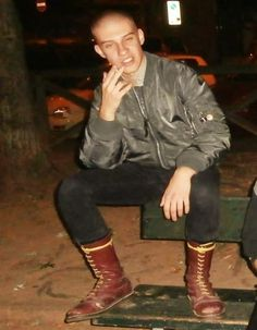"""""""leather on. Skin Head, Going Out, Handsome, Hipster, Leather Jacket, Boys, Sexy, Clothes, British"""