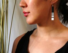 pH strip White handpainted upcycled leather earrings