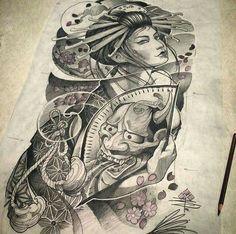 Gueixa draw tattoo