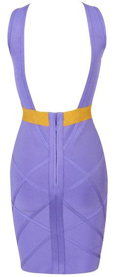 Clothing : Dresses : Bandage Dresses : 'Gemma' Lilac & Gold Keyhole Bandage Dress
