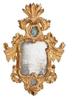 Pareja de cornucopias Fernando VI en madera tallada y dorada, de mediados del siglo XVIII
