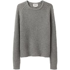Acne Strindberg Pullover ($150) ❤ liked on Polyvore featuring tops, sweaters, jumpers, shirts, grey sweaters, pullover sweaters, gray shirt, raglan sleeve shirts and long jumpers