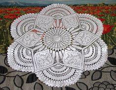 Large crochet doily white cotton handmade crochet doily