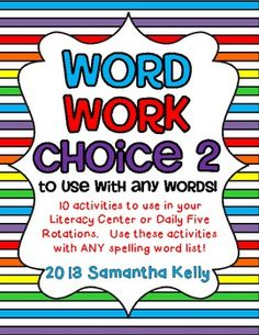 Spice up your Word Work or Spelling practice with these 10 FUN and easy to prepare centers!  $ Great for grades 1-3