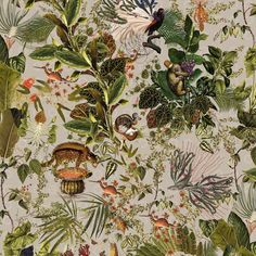 Arte x Moooi Wallcovering Menagerie of Extinct Animals Wallpaper Tier Wallpaper, Dining Room Wallpaper, Animal Wallpaper, Home Wallpaper, Farm Animals, Cute Animals, Burlap Kitchen, Taupe Paint, House Ideas