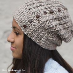 Classic meets trendy in this super cute slouchy hat pattern. You'll love the faux-knit look of the crocheted ribbing, and the row of buttons adds an unexpected, eye-catching element.