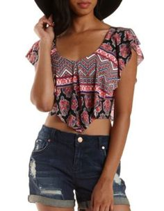 Black Combo Printed Flounce Crop Top by Charlotte Russe