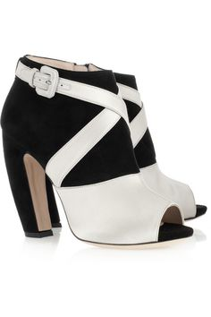Miu Miu Satin and suede peep-toe ankle boots