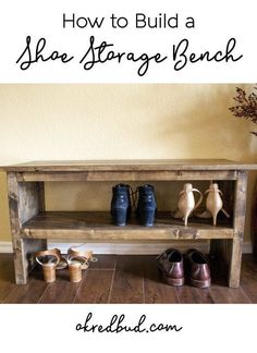 DIY Wood Shoe Storage Bench! Great for entryway, mudroom, spa bench, shoe storage, organization, end of bed bench...