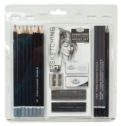 21 Piece Pencil Set, Sketching Essentials Set by Royal & Langnickel | Sketch Set w\Sketch Sticks, Erasers + more | Drawing Set, Artists Set
