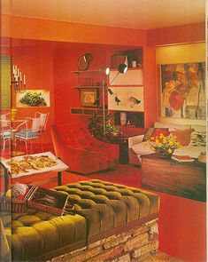 MidCentury interior with red walls and red carpeting and olive green accents