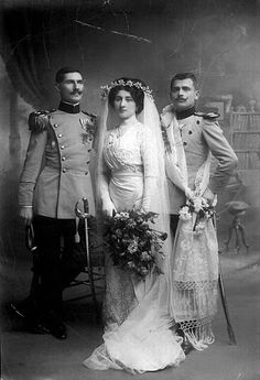 Vintage Wedding Dresses Danica Paligorić and Nikola Jorgovanović with a Groomsman, The Kingdom of Serbia, Niš, 1911 Chic Vintage Brides, Vintage Wedding Photos, Vintage Bridal, Wedding Pics, Wedding Bride, Wedding Dresses, Vintage Weddings, Wedding Beach, Vintage Dresses