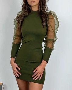 Buy Solid Mock Neck Puff Sleeve Mesh Insert Bodycon Dress in the online store - TopTrendBrand Classy Dress, Classy Outfits, Chic Outfits, Dress Outfits, Fashion Dresses, Elegant Dresses For Women, Cute Dresses, Short Dresses, Party Dresses