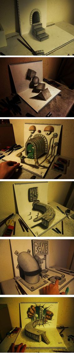 3D Illusion Sketchbook Drawings by Nagai Hideyuki, Japan