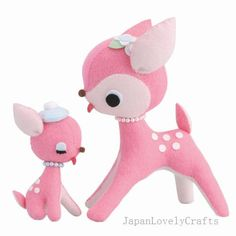 Felt Stuffed Animal, Deer and Baby Fawn, Japanese DIY Kit, Die Cut Felt Easy Pattern & Kits, Kawaii Adorable Retro Doll, Ayumi Uyama, F113