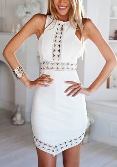 White Patchwork Lace Hollow-out Irregular Mini Dress - Mini Dresses - Dresses