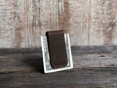 Engraved. Personalised Stitched Leather and Chrome Money Clip