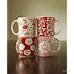Fair Trade Red Blossom Mugs handcrafted in Vietnam. Available at Alternatives Global Marketplace.