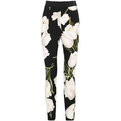 Dolce & Gabbana Tulip-print skinny trousers (10.410 ARS) ❤ liked on Polyvore featuring pants, skinny trousers, stretch waist pants, dolce gabbana trousers, tulip pants and elastic waist pants