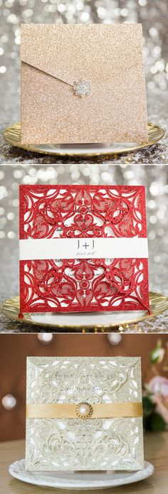 classy glitter and bling wedding invitations for 2017 trends