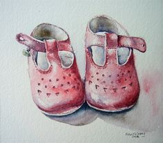 watercolor - pink shoes by Fran McGarry Watercolor Projects, Watercolor Art, Pink Shoes, Baby Shoes, Acrylic Painting Inspiration, Baby Barn, Baby Illustration, Shoe Art, Painted Shoes