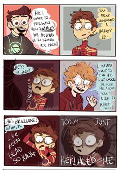 After i discovered Harley Keener would be part of Avengers this just popped! And i didnt want to loose the idea, so HERE IT ISSSSS BONUS: Funny Marvel Memes, Marvel Jokes, Marvel Heroes, Funny Comics, Avengers Comics, Avengers Memes, Avengers Imagines, Superfamily Avengers, Spideypool