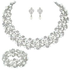 Austrian Crystal Bridal Cream Simulated Pearl Leaf Jewelry Set | eNew Style