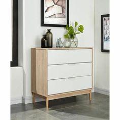 CHARLOTTE Commode 80 cm - Blanc et décor chêne - Achat / Vente commode de chambre CHARLOTTE Commode 80 cm - Cdiscount