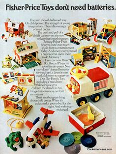 Look back at these vintage Fisher-Price Little People play sets & remember the good ol' days 5 Fisher-Price Little People play sets Agency: Waring & LaRosa, New York (bought by Young & Rubicam in 1970s Toys, Retro Toys, 1980s, Fisher Price Toys, Vintage Fisher Price, Tennessee Williams, Childhood Toys, Childhood Memories, Vintage Advertisements