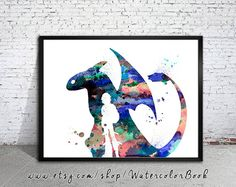 How to train your Dragon Watercolour Painting Print, watercolor painting,watercolor art
