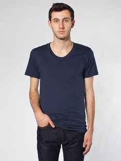 American Apparel - Sheer Jersey Loose Crew Summer T-Shirt  sz large (color- navy, black, heather grey, or heather anything)