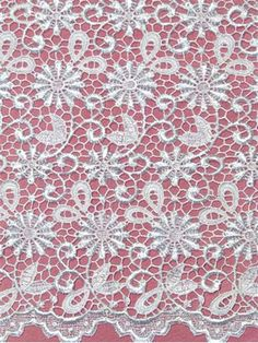 """VLNSE12899 White Venice bridal lace, heavy guipore lace for wedding dresses or formal dress. poly rayon. Allover pattern with border on both sides. 53"""" wide. $99 value."""