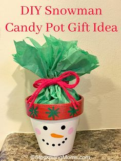 DIY Snowman Candy Pot Gift Idea that is super easy craft to make for a Christmas gift!
