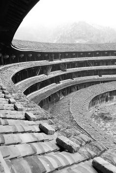 The Beauty of Ancient Achitecture and Form inside a Toulou Building Fujian China