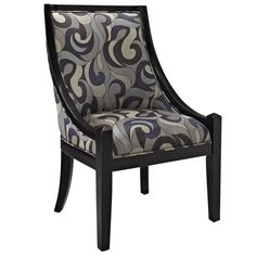 This decorative and modern accent chair has a pleasing pattern and smooth, graceful lines. Exterior upholstery reinforces its artistic appearance that will enhance any room of your home.