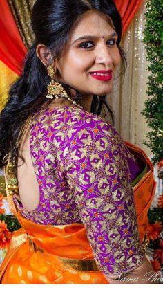 Nice blouse Brocade Blouse Designs, Fancy Blouse Designs, Bridal Blouse Designs, Kurta Designs, Saree Blouse Designs, Blouse Styles, Blouse Desings, Maggam Work Designs, Blouse Models