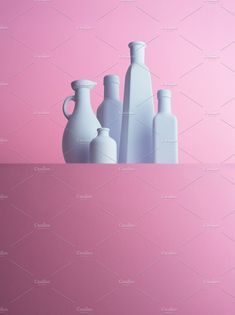 Multiple types of bottles organized over pink background Still Life Photographers, Bottles, Organization, Stock Photos, Creative, Projects, Pink, Getting Organized, Log Projects
