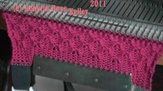 Patterning on the Singer SK155 knitting machine, via YouTube.