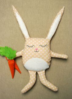 Bunny Doll  Plush Rabbit Carrot Hand Embroidered Face by Jobuko