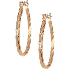 Natasha Accessories Twisted Oval Hoop Earrings ($9.97) ❤ liked on Polyvore featuring jewelry, earrings, gold, gold tone earrings, snap button jewelry, gold tone jewelry, twist jewelry and oval earrings