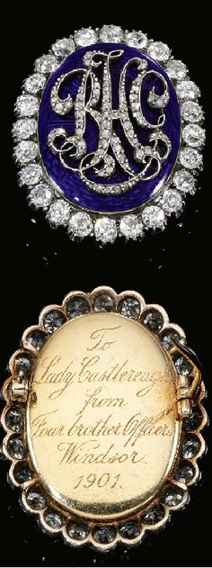 Enamel and diamond brooch, late 19th century.The Lady Castlereagh of this date was born Edith Chaplin; she married Lord Castlereagh in 1899; he later became Lord Londonderry. Lady Castlereagh was very interested in politics and had a close platonic friendship w/P.M.Ramsay MacDonald. A legendary gardener, a friend of Queen Mary's. http://www.sothebys.com/en/auctions/ecatalogue/lot.pdf.GE1202.html/f/484/GE1202-484.pdf