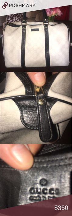 🌺💯 AUTHENTIC GUCCI HANDBAG IN BLACK AND WHITE🌺 🌺🌺💯AUTHENTIC GUCCI HANDBAG IN BLACK AND WHITE🌺🌺COMES WITH DUST BAG😀🌺🌺‼️ONLY FLAW IS TINY INK STAIN AS SHOWN IN LAST PIC🌺🌺 Gucci Bags Satchels