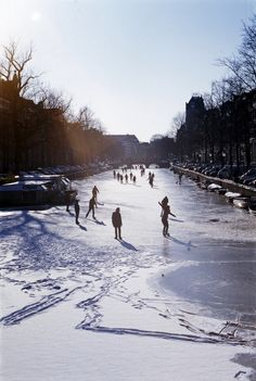 ice skating on the canal
