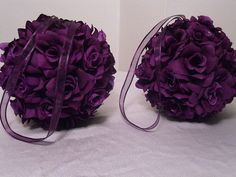 Purple Pomander Kissing Balls (8 Balls) Flower Girl, Floral, Bridesmaid Bouquet Wedding Decorations (Available In All Colors). $200.00 USD, via Etsy.