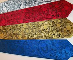 Custom color neckties mens necktie paisley skulls by RokGear. Custom colors always available, never any additional charges to have a necktie printed in the colors you want