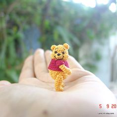 1 1/4 inch crochet bear - Winnie the Pooh  by LaqmLinh