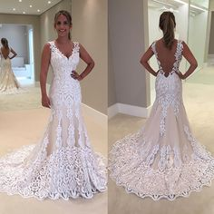 Sexy Sheath Backless Wedding Dress White/Ivory Bridal Ball Gown Custom Made Plus Fitted Wedding Gown, Elegant Wedding Gowns, Cheap Wedding Dress, Wedding Dresses, Backless Wedding, Team Bride, Dream Dress, Mermaid Wedding, Dress Making